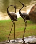 Stylized Garden Heron Statues - Pair