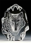 Lone Wolf Leaded Crystal Sculpture