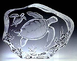 Mother and Baby Sea Turtle Leaded Crystal Glass Sculpture