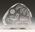 Moonlight Flamingos Leaded Crystal Sculpture