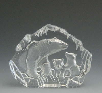 Polar Bear with Cubs Leaded Crystal Sculpture
