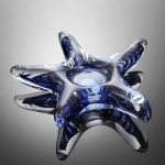 Art Glass Blue Starfish Tea Light Holder