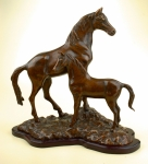 """Mothers Love"" Mare andColt Horse Sculpture"