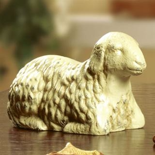Sleeping Lamb Statue with White Patina