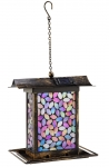 Mosaic Glass Pink Square Bird Feeder with Solar Lighting