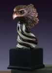 Eagle Head with American Flag Statue - Small