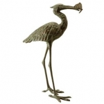 Garden Crane Eating Fish Statue