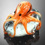 Art Glass Orange Octopus Sculpture/Paperweight