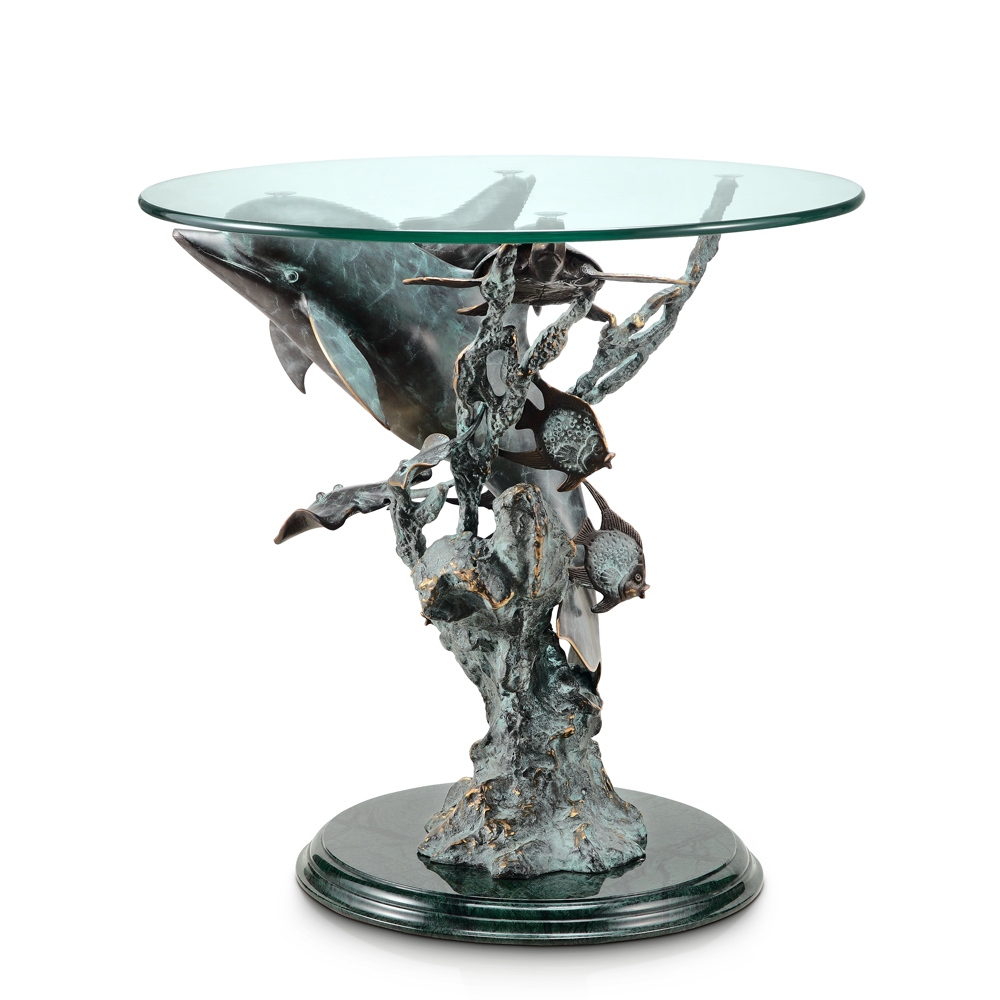 Dolphin, Turtle and Sea Creatures End Table