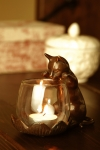 Peeking Cat with Votive Candle Holder