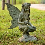 Fairy with Bird Garden Sculpture