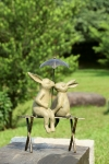 Bunny Lovers on Bench Sculpture