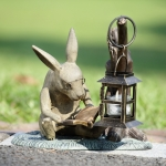 Book Lover Rabbit Garden Lantern
