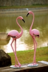 Pink Flamingo Pair Sculptures