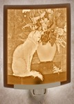 Cat With Flowers Lithophane Night Lights