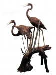 2 Cranes on Branch Sculpture