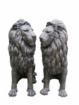 Sitting Lion Pair Sculptures