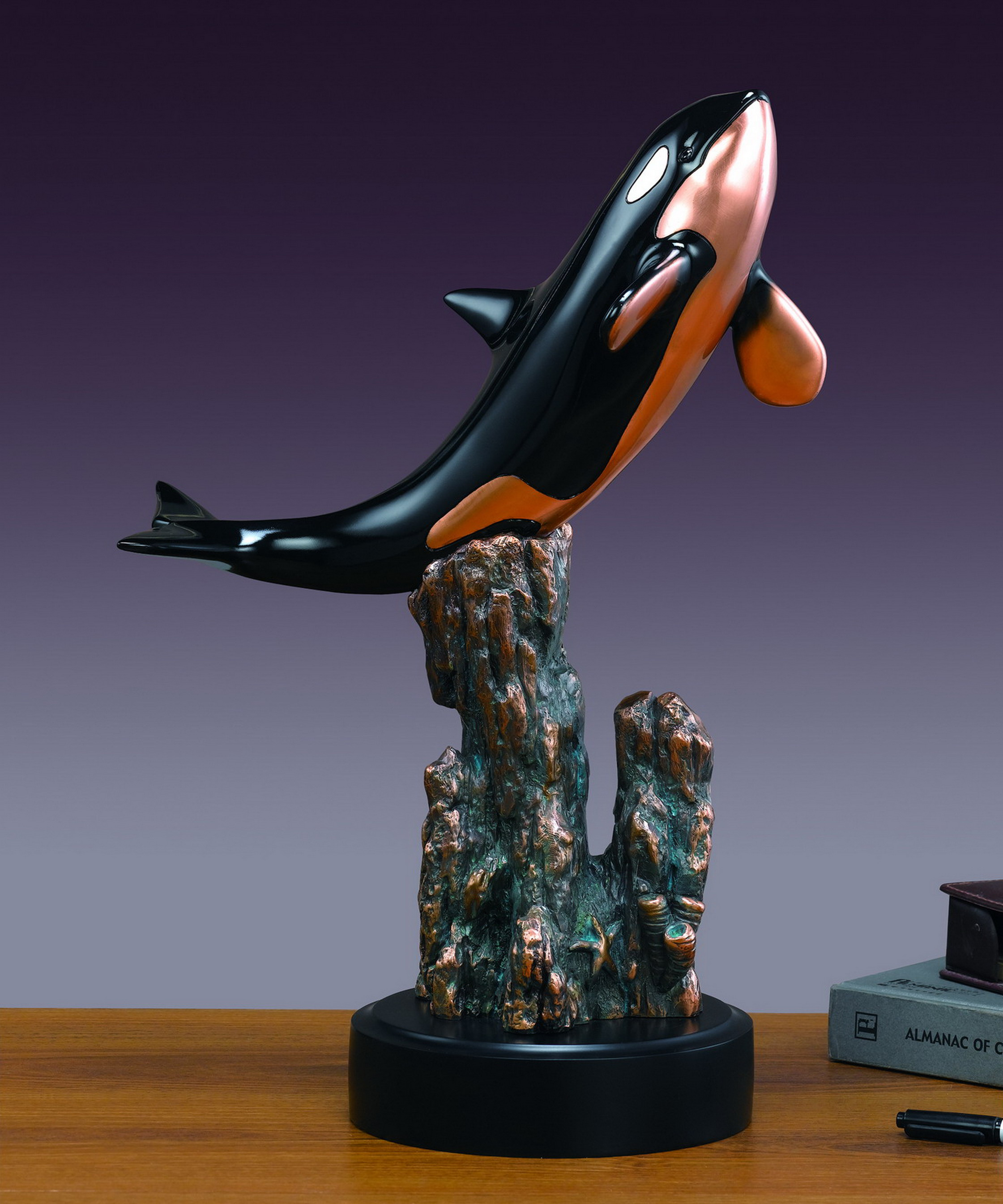 Orca & Coral Sculpture 18 Inches TALL!