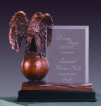 Glass Imprint Eagle on Globe Trophy