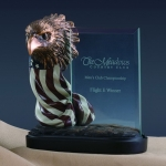 Glass Imprint Eagle head w/American Flag Trophy