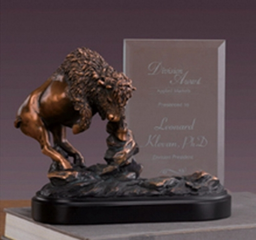 Glass Imprint Buffalo Frame or Trophy