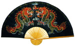 Large Decorative Twin Dragon Wall Fan