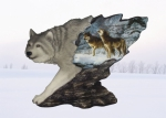 """Hunter's Spirit"" Wolf Statue with Print"
