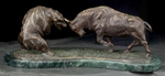 Charging Bull & Bear Fight Statue