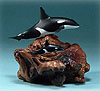 Orca Mother & Calf on Burlwood Base