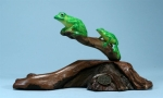 Double Green Tree Frogs Sculpture