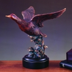 Bronze Plated Flying Duck Sculpture