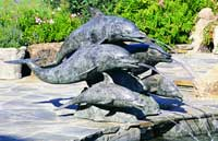 Large Five Surfing Dolphins Fountain