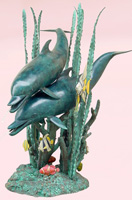 Double Dolphins on Seagrass Fountain