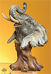 Faux Wood Elephant Bust Statue