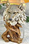 Faux Wood Wolf Bust