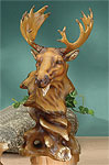 Faux Wood Moose Bust Sculpture