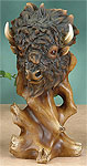 Faux Wood Buffalo Bust Sculpture