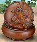 Faux Wood Moose Trinket Box