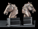 Bronzed Brass on Wood Horse Bookends