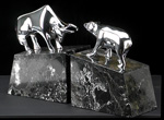 Brass Chrome Plated on Marble Bull & Bear Bookends