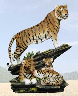 """Keeper of the Flame"" Tiger Sculpture"