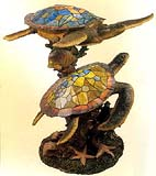 Tiffany Sea Turtle Sculpture with Light #A